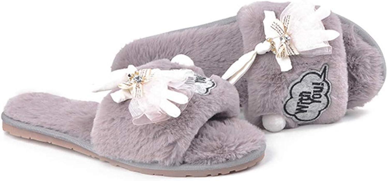 T-JULY Women's Sweet Lace Dress Rabbit Fur Slippers Cozy Plush Winter shoes Fur Ball Home Slides Ladies Flip Flops