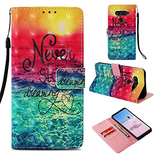 DodoBuy LG V50 ThinQ Hülle 3D Flip PU Leder Schutzhülle Stand Handy Tasche Brieftasche Wallet Hülle Cover für LG V50 ThinQ - Never Stop Dreaming
