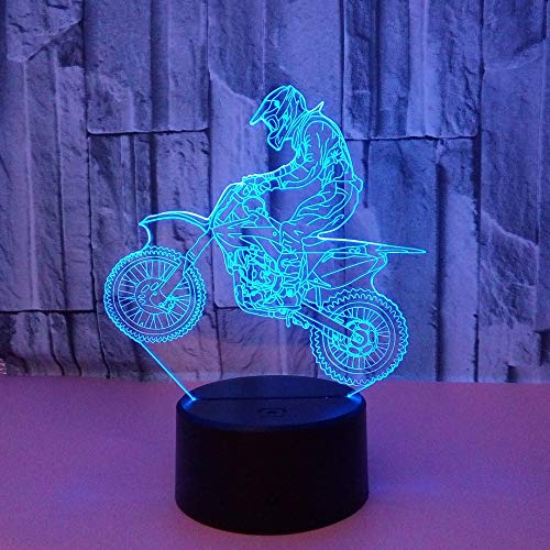 FHUA Lámpara Escritorio Lámpara Motocicleta LED Gradiente Colorido 3D Estéreo Lámpara Táctil Táctil Control Remoto USB Desempebado de Luz de Luz de Noche Decoración Creativa Decoración de Regalo