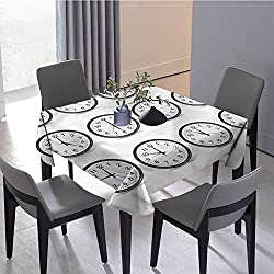 Polyester Tablecloth Outdoor Tablecloth Clocks and Black Numbers Interior Table Decoration 62 x 62 inch