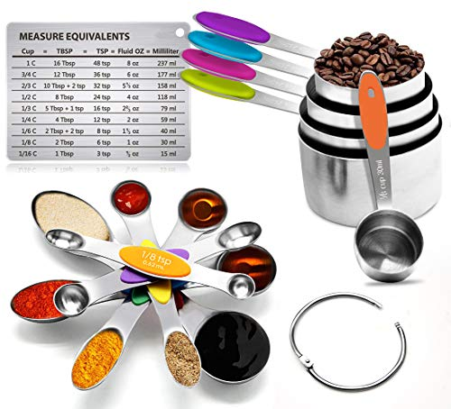 Sunnyac 12 Pieces Measuring Cups and Spoons Set Including 5 Stackable Stainless Steel Measuring Cups 6 Double Sided Magnetic Measuring Spoons and 1 Metal Plate for Dry and Liquid Ingredients