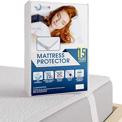 Dreamzie - Matratzenschoner 100 x 200 cm Wasserdicht - Wasserundurchlässige Matratzenauflage - Atmungsaktive Baumwolle Matratzenauflage - 15 Jahre Garantie