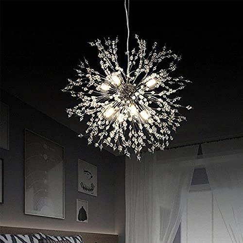 KAUTO Candelabros de Cristal Modernos, candelabro Sputnik de Diente de león de Fuegos Artificiales, iluminación Colgante para Sala de Estar, Comedor, Dormitorio, Cocina (8 Luces, Cromo)