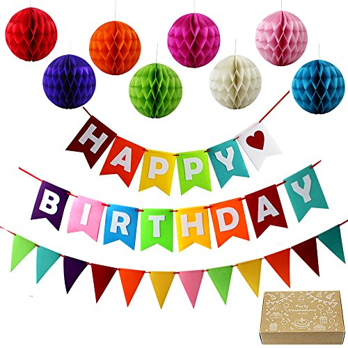 JUSLIN Alles Gute zum Geburtstag Party Dekoration Banner und 8 Bunte Pom Pom Ball