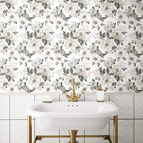 Roommates Watercolor Floral Bouquet Gray Peel and Stick Wallpaper | Removable Wallpaper | Self Adhesive Wallpaper