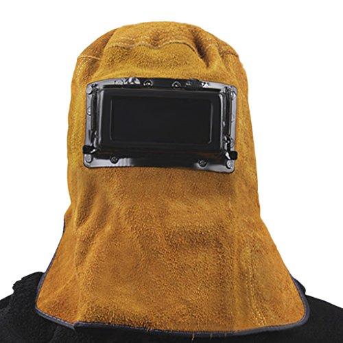 Masque de soudure Casque de Soudeur en forme de Capuche Capot de protection en cuir Masque confortable avec Lunette de Protection Protecteur des Yeux et Visage