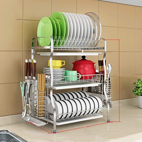 Soportes para platos JXLBB Estantería de desagüe del Bastidor de Plato de Acero Inoxidable 3 Capas de Almacenamiento de lavavajillas seco, (28x43.5x54.5cm) (Color : A6)