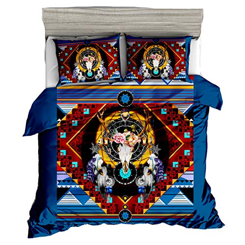 QXbecky Bohemian Totem Sheep Bone Dream Catcher Ethnic Style high-Count high-Density3D Bedding Quilt Cover Pillowcase 3-Piece Set