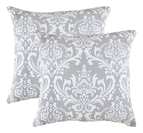 TreeWool - Pack de 2 - Damasco Acento Decorativo Fundas de cojín, 100% algodón (50 x 50 cm / 20 x 20 Pulgadas, Gris)