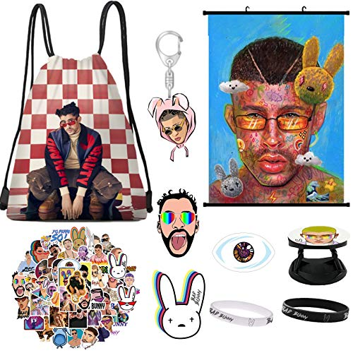 Bad Bunny Merch, pegatinas de conejo malo, mochila, póster, broche, pulsera, soporte para teléfono