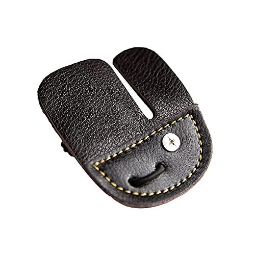 CJBIN Compound Bogen Zubehör, 1 Einseitig Kuh Leder Fingertab Bogen Handschuh Schutzpolster, Bogensport Zubehör für Jagd, Fingerschutz (Braun)