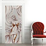 Mural para Puerta Autoadhesivo Pvc Impermeable Extraíble Papel Pintado Puerta Belleza En Relieve Blanco Diy decoraciones para Puerta Sala de Baño Estar Dormitorio 77x200cm