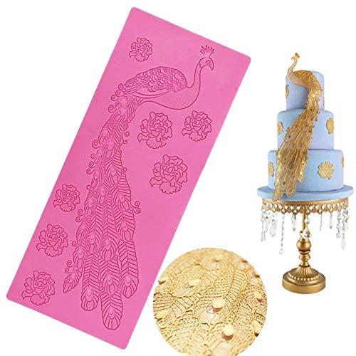 Silikon Pfau-Spitze, Neuheit GIANT Spitze Silikon Form Sugarcraft Hochzeit Cake Decor Tools Eindruck Gum Gebäck Werkzeug Küche Werkzeug Zucker Paste Backform Cookie Gebäck