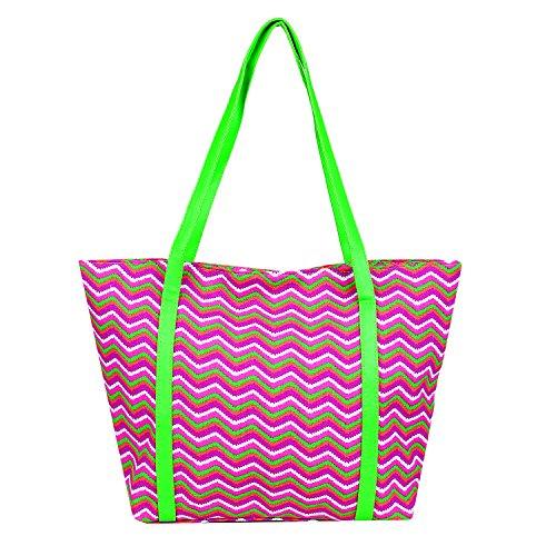 DonDon Bolso de mujer para la playa y la compra en neón Chevron Look, 2 (Multicolor) - BBAG29
