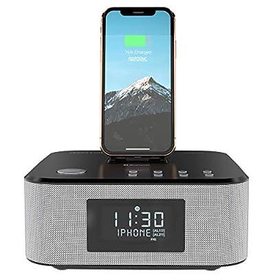 AZATOM Homehub Clock Radio Alarm FM Bluetooth speaker 30W Lightning Docking station for iPhone Xs Max, Xs, Xr, X, 8, 8 plus, 7plus, 7, 6s, 6, 5s, 5, SE Nano 7G, Touch 6G 5G, iPad mini BLACK by Azatom®