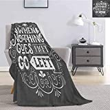 Luoiaax Quote Fuzzy Blankets King Size Inspirational Message When Nothing Goes Right Go Left Ornamental Style Soft Fuzzy Blanket for Couch Bed W54 x L72 Inch Charcoal Grey and White