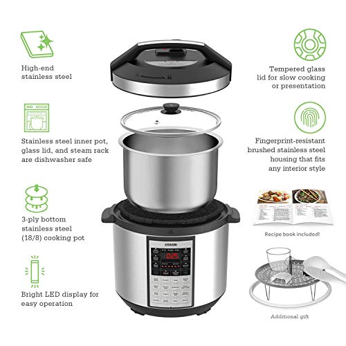COSORI CP016-PC 6 Qt Premium 8-in-1 Programmable Multi-Cooker (Pressure Cooker, Rice Cooker, Steamer, Warmer, Etc.), 1000W, Includes Glass Lid, Sealing Ring & Recipe Book