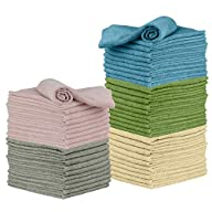 Microfiber Cleaning Cloth, 50 Pack 12 x 16 - for Kitchen, Car, Super Absorbent Cloths - Polishing Shop Rags with Streak Free Finish for Indoor, Outdoor Surfaces - Premium Dusting Huck Towels Folded Stacks