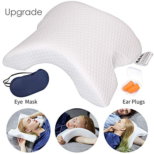 LOCYOP Cuddle Pillow Couple Pillow Arm Pillow Slow Rebound Pressure Pillow Memory Foam Pillow Travel Pillow Arched Shaped Arm Pillow Providing Comfort and Support with Eyemask and Earplugs