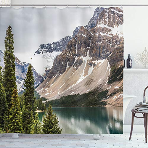 "Ambesonne Landscape Shower Curtain, Alberta Rocks Scenery of Ranges Composed Shale Limestone Hill Places Photograph Winter Season Print, Cloth Fabric Bathroom Decor Set with Hooks, 75"" Long, Grey Blue"