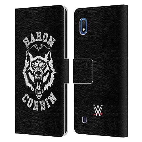 Head Case Designs Oficial WWE Lobo Solitario 2 Barón Corbin Carcasa de Cuero Tipo Libro Compatible con Samsung Galaxy A10 (2019)