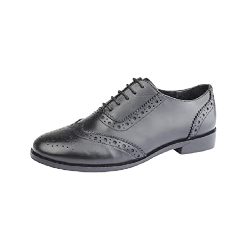 0995698f82 Cipriata Ladies Womens Girls Black Leather Lace Up Brogues Office Work  School Shoes