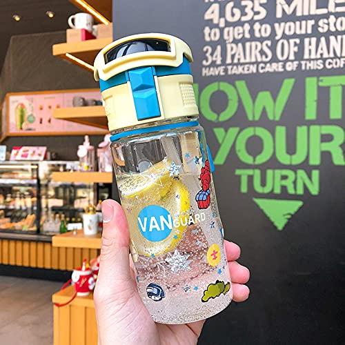 Deportes Paja Plástico Copa Impresión transparente Dibujos animados Bomba Cubierta Handmake Cup Taza portátil al aire libre-Pequeña crema amarilla + lago azul 430ml_L