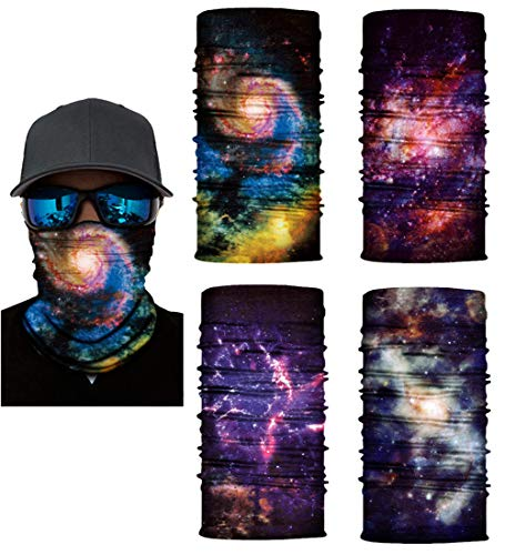 Price comparison product image Swesy 4 Pack Outdoor Face Mask Multifunctional UV Protection Headwear Scarf Motorcycling Hiking Cycling Skiing Snowboarding(Colorful)