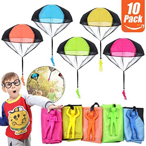 Fallschirm Spielzeug Kinder Fallschirmspringer Spielzeug, 10 Stück Fallschirmspielzeuge Kinder Hand Werfen Fallschirm Outdoor Flugspielzeug Geschenk für Kinder, Wurf Parachute Spiele für Draußen