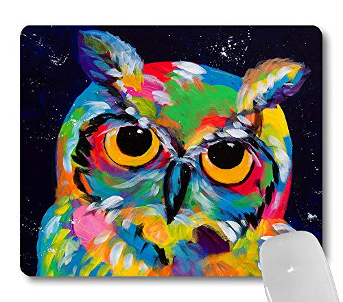 Wknoon Abstract Vintage Owl Painting Art Mouse Pad, Cute Colored Owl Print Mouse Pads Office Work Decor