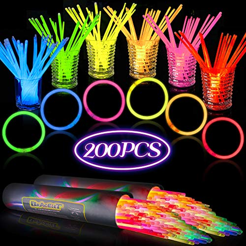AMOR PRESENT 200 PCS 8 in Glow Stick Bracelets Glow in the Dark Sticks with Connectors Perfect for Birthday Parties, Party Favors, Camping Trips, July 4th, Christmas