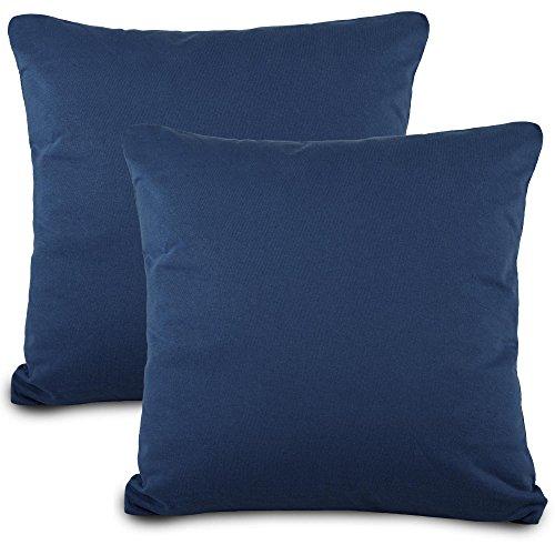 aqua-textil Classic Line Kissenbezug 2er-Set 80 x 80 cm dunkel blau Baumwolle Kissen Bezug Reißverschluss Jersey Kissenhülle