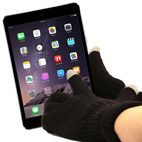 DURAGADGET Guantes Negros para Pantalla Táctil para Apple iPad Pro | Mini 4/3 - Talla Grande - ¡Ideales para El Invierno!