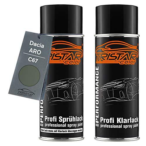 TRISTARcolor Autolack Spraydosen Set für ARO/Dacia C67 Gris Olive Nacre Metallic/Thymian Grün Perl Basislack Klarlack Sprühdose 400ml