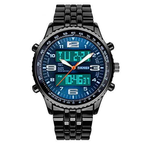 Freien Männer Sportuhren Anzeige zweier Zeitzonen Armbanduhren Male 50m Wasserdicht (Blau)
