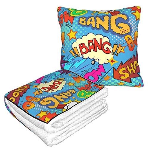 Bang Boom Wow Pow Living Room Sofa Throw Pillow Blanket Business Traveling Soft Plush Blanket Velvet Pillow