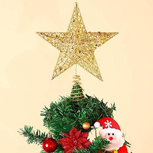 AMRIU Christmas Tree Star Topper Xmas Tree Glittered Tree-top Lamp Ornament Party Home Decor