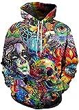 Blue 3D Skull Hoodies Men Women Winter Spring Sportswear Hip Hop Tracksuit Hooded Sweatshirt-Ivory-Small from Minipear