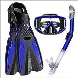 LGQ Tuta da Snorkeling, Occhiali da Sub per Adulti, Pinne, Maschera da Snorkeling, boccaglio Completamente Asciutto, Blu/Nero/Rosso/Grigio,Blu,ML/XL