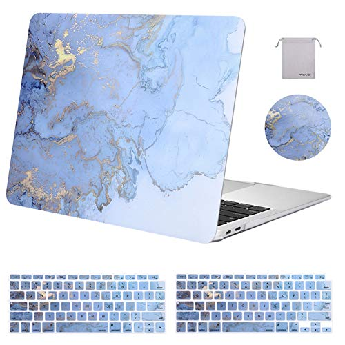 MOSISO MacBook Air 13 inch Case 2020 2019 2018 Release A2179 A1932, Plastic Watercolor Marble Hard Shell&Keyboard Cover&Mouse Pad&Storage Bag Only Compatible with MacBook Air 13 inch Retina, Blue