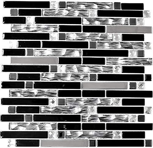Mosaik Fliese Edelstahl schwarz Stäbchen Glasmosaik Crystal für WAND BAD DUSCHE KÜCHE FLIESENSPIEGEL THEKENVERKLEIDUNG BADEWANNENVERKLEIDUNG Mosaikmatte Mosaikplatte | 10 Mosaikmatten