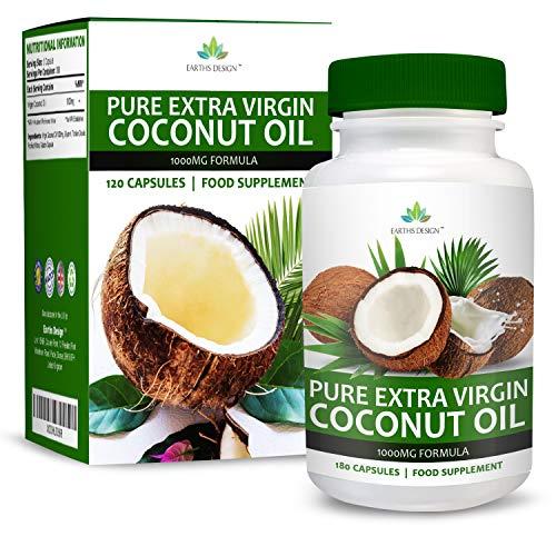 Kokosöl - 1000mg Kokosölkapseln - Natives & Reines Kokosöl Mit Mittelkettigen Fettsäuren MCT - Für Männer & Frauen - 180 Kapseln (3 Monate Vorrat) von Earths Design