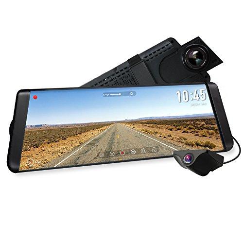 AUTO-VOX X2 Streaming Dashcam mit 9.88 Zoll/25 cm LCD Touchscreen, Full HD 1296P Autokamera Vorne und Hinten 140° Weitwinkel IP68 wasserdichte Rückfahrkamera mit Nachtsicht