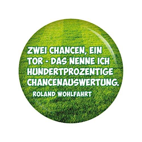 Kiwikatze® Sport - Fußballerzitate - Zwei Chancen, ein Tor - das nenne ich hundertprozentige Chancenauswertung. 37mm Button Pin Fussball Weltmeisterschaft Bundesliga EM WM