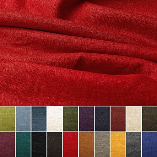 Tela de lino natural - 100% lino puro - Gran textura de lino - 20 colores - Por metro (Rojo rubí)