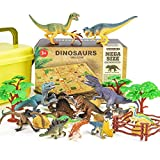 RenFox Dinosaur Toys Set with Activity Play Mat - 30Pcs Dinosaurs Playsets Include 16 Jurassic Dinosaur Figures, 4 Trees, 4 Stone, 4 Frence, Realistic Dino World Toy Gift for Kids Boys Girl