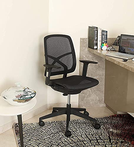MISURAA Imported Kriss Kross Mid Back Ergonomic Office & Home Chair with Korean Mesh Seat & Back, Built in Seat Mechanism & Lumbar Supporting Back (Black)
