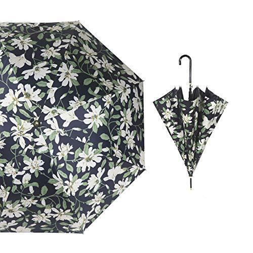 NHP Sombrilla, sombrilla pequeña para Lluvia o Lluvia a Rayas Frescas, sombrilla de protección Solar, sombrilla de Mango Largo, Apertura automática, Regalo(Color:G)