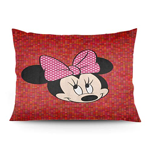 Omigge Cute Cartoons Square Throw Pillow Case, Soft Velvet Cushion Cover With Hidden Zippe For Couch Sofa Home Bed Decoration,Disney Minnie Red Mosaic