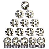 SNOWZAN 20 rodamientos de bolas en miniatura para monopatín, 8 mm de diámetro interno, rodamientos de bolas 608, rodamientos de metal con doble blindado de 8 mm x 22 mm x 7 mm